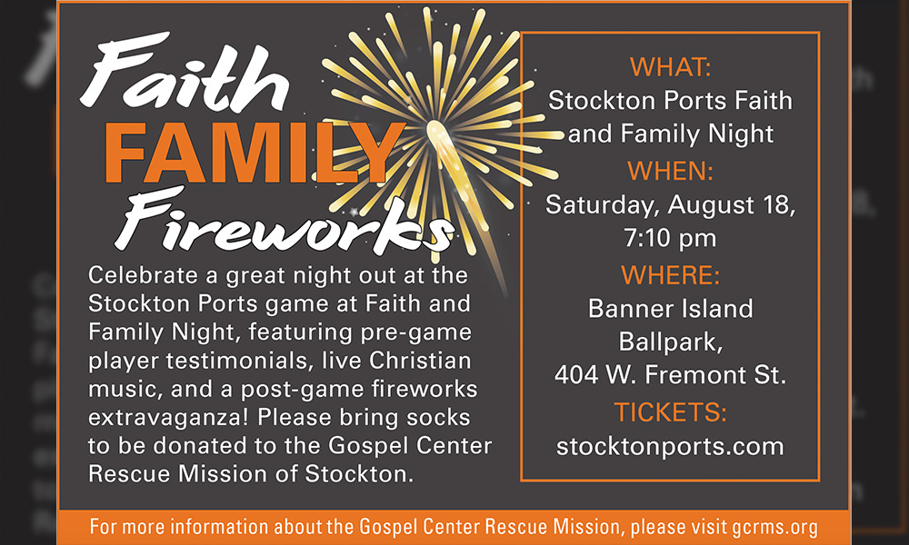 Stockton Ports Faith and Family Night Benefiting Gospel Center Rescue Mission